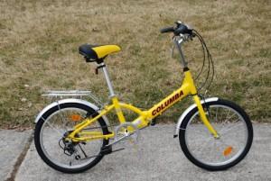 """Columba 20"""" Steel Folding Bike with Shimano 7 Speed in Yellow"""