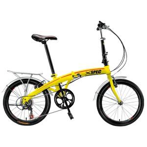 "Xspec 20"" 7 Speed Folding Bike in Yellow"